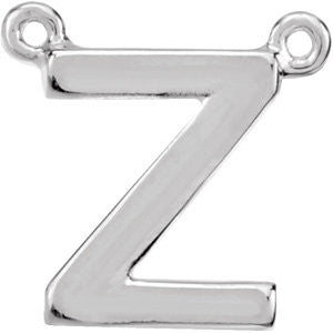 "14k White Gold Letter ""Z"" Block Initial Necklace Center"