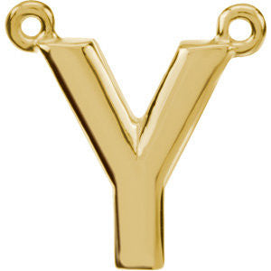 "14k Yellow Gold Letter ""Y"" Block Initial Necklace Center"