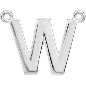 "Sterling Silver Letter ""W"" Block Initial Necklace Center"
