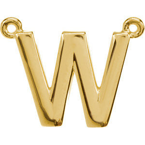 "14k Yellow Gold Letter ""W"" Block Initial Necklace Center"