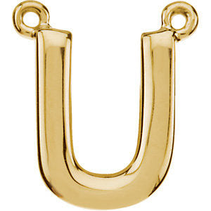 "14k Yellow Gold Letter ""U"" Block Initial Necklace Center"