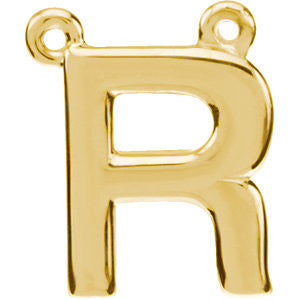 "14k Yellow Gold Letter ""R"" Block Initial Necklace Center"