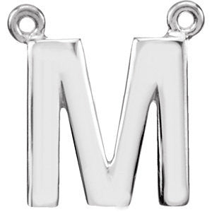 "Sterling Silver Letter ""M"" Block Initial Necklace Center"