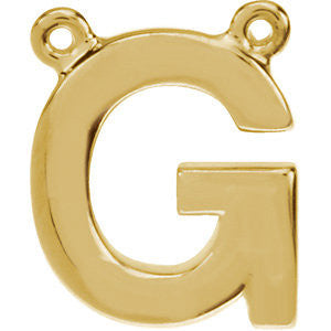 "14k Yellow Gold Letter ""G"" Block Initial Necklace Center"