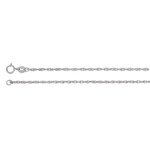 1.75 mm Solid Rope Chain in 14k White Gold ( 16-Inch )