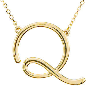 "14K Yellow Gold ""Q"" Script Initial 16-Inch Necklace"