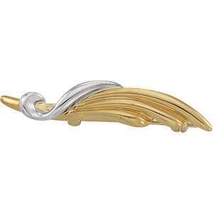 08.00x40.50 mm Two-Tone Brooch in 14K Yellow and White Gold