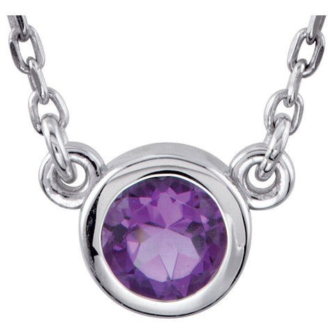 "Sterling Silver Amethyst Bezel 18"" Necklace"