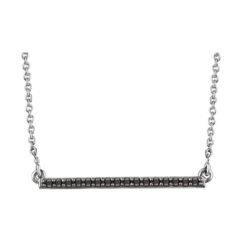 14k White Gold Rhodium Plated 1/6 ctw. Black Diamond Bar 18-inch Necklace