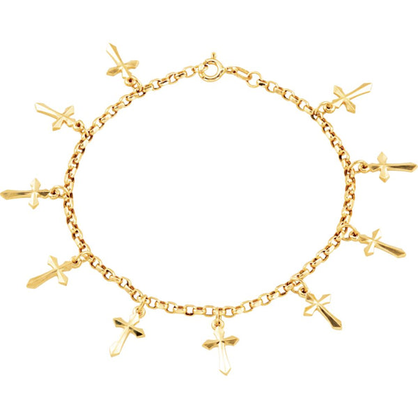14k Yellow Gold Cross Bracelet