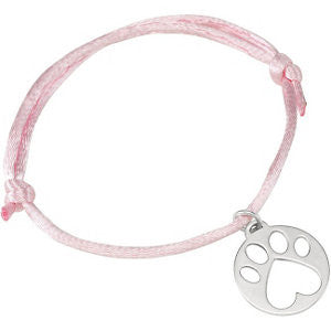 Sterling Silver Pink Satin Cord Adjustable Bracelet with Paw Charm