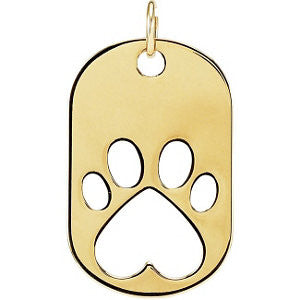 14k Yellow Gold Our Cause for Paws™ Dog Tag Necklace or Pendant