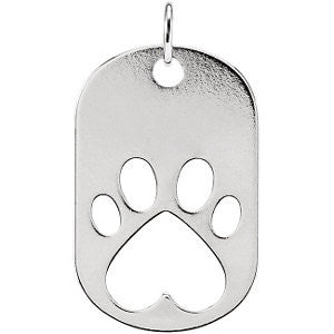14k White Gold Our Cause for Paws™ Dog Tag Necklace or Pendant