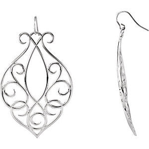 Sterling Silver 65.25x43.5mm Scroll Design Earrings