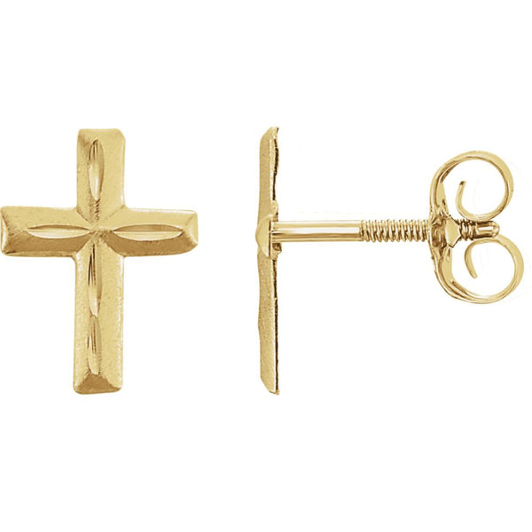 14k Yellow Gold Youth Diamond Cut Cross Earrings