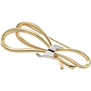 14K Yellow & White 59x23mm Bow Design Brooch