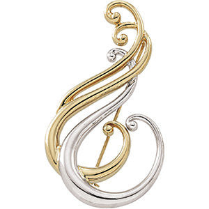 29.00x52.00 mm Two-Tone Brooch in 14K Yellow and White Gold