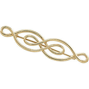 14k Yellow Gold 54x13mm Brooch