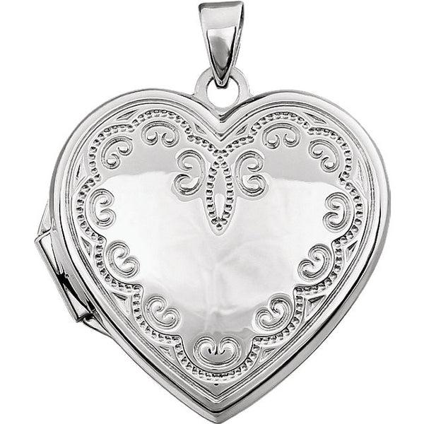 14k White Gold Heart Locket with Scroll Design