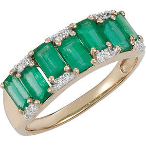 0.07 CTTW Genuine Emerald and Diamond Ring in 14k Yellow Gold ( Size 6 )