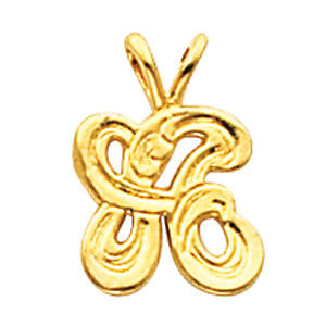 "14k Yellow Gold ""W"" Small Initial Pendant"