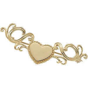 14k Yellow Gold 21x18mm Heart Brooch