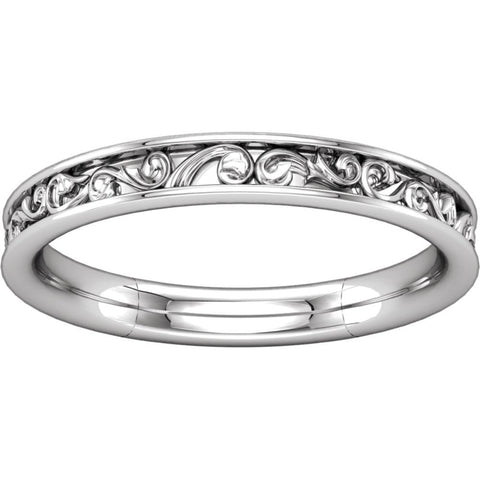 14k White Gold Sculptural-Inspired Band , Size 7