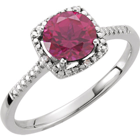 Sterling Silver Lab-Grown Ruby & .01 CTW Diamond Ring, Size 7