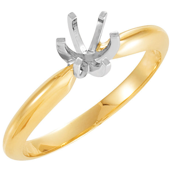 14k Yellow Gold & Platinum 5-5.3mm Round 6-Prong Heavy Solitaire Ring Mounting, Size 6