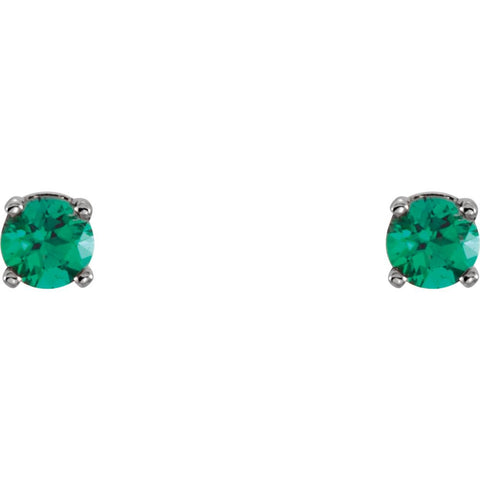 14k White Gold Chatham® Lab-Grown Emerald Youth Earrings