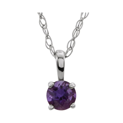 "14k White Gold Imitation Amethyst ""February"" Birthstone 14-inch Necklace for Kids"