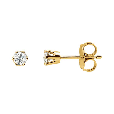 14k Yellow Gold 1/2 CTW Diamond Threaded Post Stud Earrings