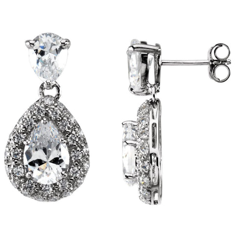 Pair of Cubic Zirconia Earrings in Sterling Silver