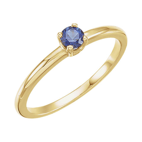 "14k Yellow Gold Chatham® Lab-Grown Blue Sapphire ""September"" Birthstone Ring	, Size 3"