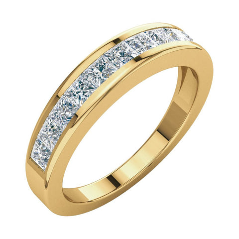 1 CTTW Princess-Cut Diamond Anniversary Band in 14k Yellow Gold (Size 8 )