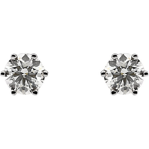 14k White Gold 3/4 CTW Diamond Threaded Post Stud Earrings