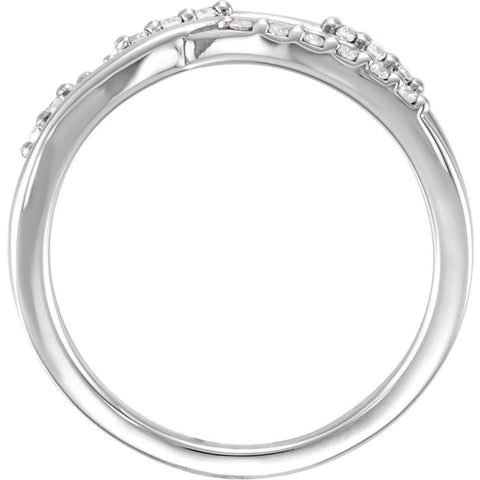 14k White Gold 1/4 CTW Diamond Criss-Cross Ring, Size 7