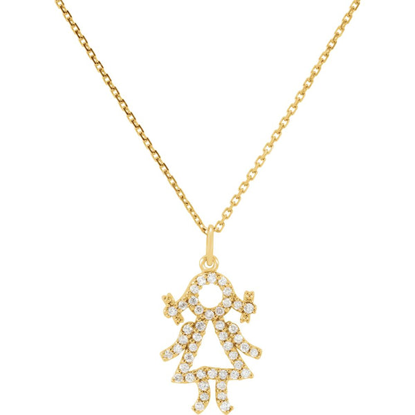 14k Yellow Gold 1/5 CTW Diamond Baby Girl Necklace