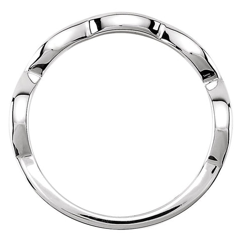 14k White Gold Infinity-Inspired Band Mounting, Size 7
