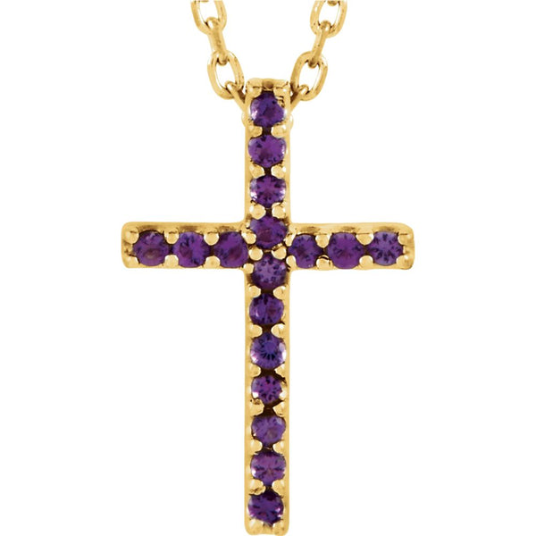 "14k Yellow Gold Amethyst Cross 16"" Necklace"