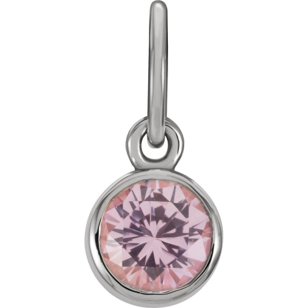 Sterling Silver Imitation Pink Tourmaline Birthstone Charm