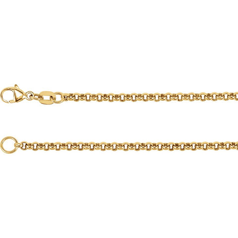 2.5 mm Rolo Chain in 18k Yellow Gold ( 16-Inch )
