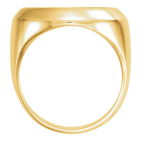 14k Yellow Gold 17.8mm Men's Coin Ring Mounting, Size 10