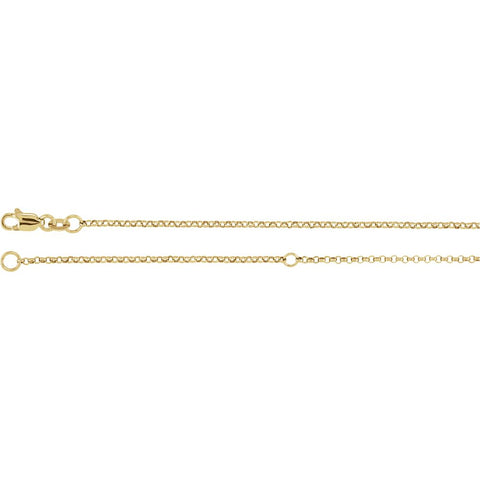 Sterling Silver With 18K Yellow Gold Plating 1.5mm Adjustable Rolo 18-20-Inch Chain