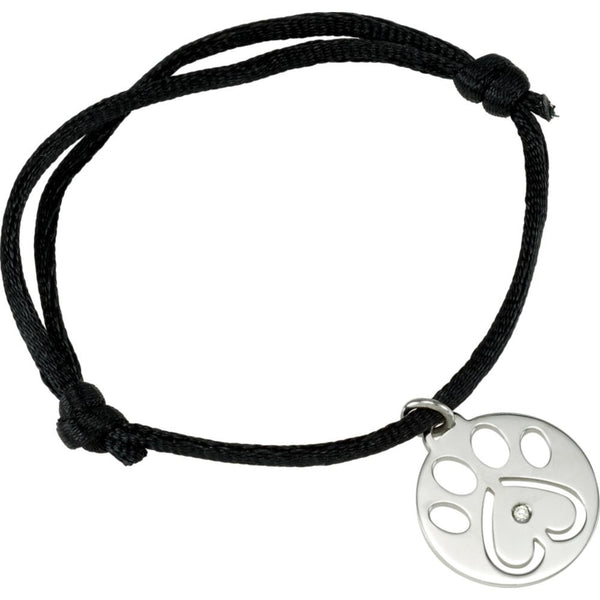 "Sterling Silver .02 CTW Diamond Dog Paw Black Cord 6.5-8"" Bracelet"