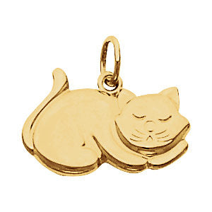 Elegant and Stylish 11X19 MM Cat Charm in 14K Yellow Gold, 100% Satisfaction Guaranteed.
