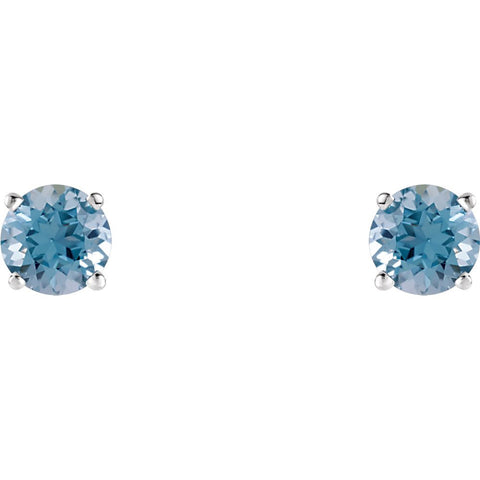 14k White Gold 5mm Round Aquamarine Earrings