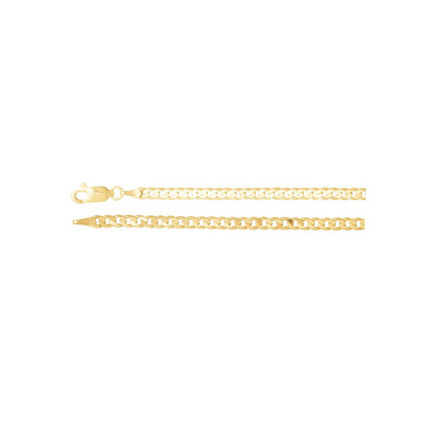 "14k Yellow Gold 3mm Solid Curb 16"" Chain"