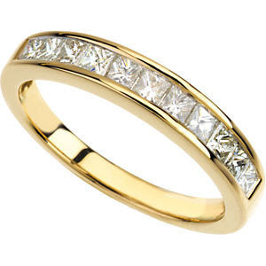 14k Yellow Gold 3/4 CTW Diamond Anniversary Band Size 6
