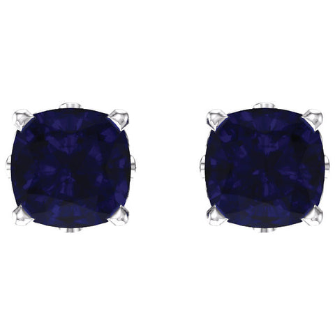 14k White Gold Chatham® Created Blue Sapphire Earrings